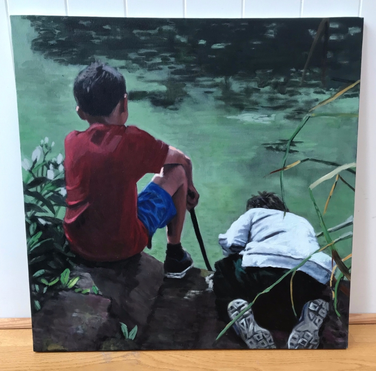 An unframed oil painting of two boys looking into a lake from behind